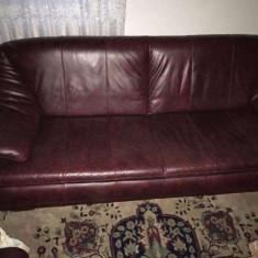 Vand set canapea si doua fotolii din piele naturala - Set mobila living