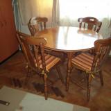 Masa rotunda cu set de 4 scaune din lemn masiv - Mobilier