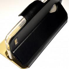 Husa Protectie tip Carte Toc Flip Cover Vodafone Smart Prime 6 + Folie CADOU!!! - Husa Telefon Vodafone, Negru, Piele Ecologica, Cu clapeta