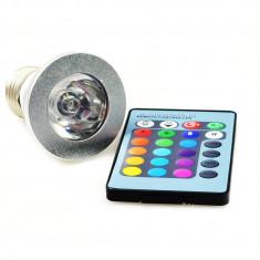 Bec/neon - Bec RGB cu Telecomanda
