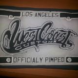 """Emblema, patch, cauciucata, """"West Coast""""pentru vesta, geaca, motociclisti"""
