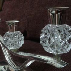 Sfesnic din alama argintata cu semicristal sau sticla