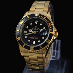 Ceas barbatesc Rolex, Elegant, Quartz, Placat cu aur, Placat cu aur, Data - CEAS ROLEX SUBMARINER GOLD&ALL BLACK-SUPERB-PRET IMBATABIL-CALITATEA1-POZE REALE