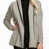 Palton dama - Cardigan cu buzunare - Only - 15103955 gri, detaliu piele eco