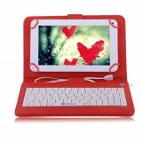 Husa tableta cu tastatura, 9.7 inch, Universal - Husa Tableta 9.7 Inch Cu Tastatura Micro Usb Model X, Rosu, Tip Mapa C18