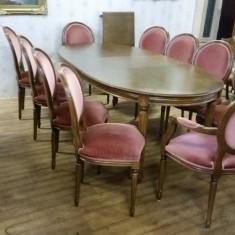 Mobilier, Mese si seturi de masa, Dupa 1950 - Masa cu 10 scaune. Louise Philippe.