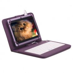 Husa tableta cu tastatura, 8 inch, Universal - Husa Tableta 8 Inch Cu Tastatura Micro Usb Model X, Mov, Tip Mapa C9