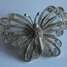 Brosa argint fluture in filigran