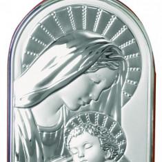 Icoana brodate - Maica Domnului si Iisus, Lucrata pe Foita de Argint 925, 9.5x13.5cm
