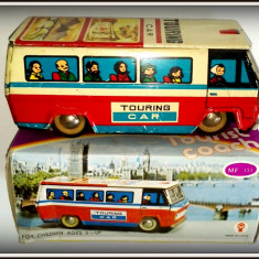 Jucarie de colectie - Masinuta Tabla - Touring Car - Autobuz Tourist Coach, anii '80
