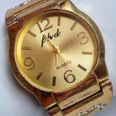 Ceas dama, Elegant, Quartz, Placat cu aur, Placat cu aur, Analog - Ceas de dama FHD Quartz placat cu aur inclusiv bratara