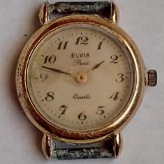Ceas de dama placat cu aur, Elvia Paris Quartz - Ceas dama, Casual, Analog, 1970 - 1999