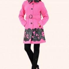 Palton dama - Haina stofa Teodora, dama, aplicatii piele eco, cordon, culoare ciclam