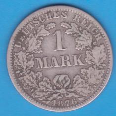 (12) MONEDA DIN ARGINT GERMANIA - 1 MARK 1876, LIT. A, PURITATE 900, NECURATATA, Europa, An: 1876