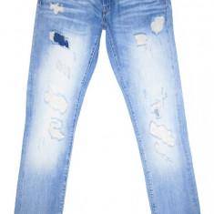 (NOU) Blugi Conici ZARA- (MARIME: 31) - Talie = 84 CM, Lungime = 110 CM - Blugi barbati Zara, Culoare: Albastru, Cu rupturi, Skinny, Normal