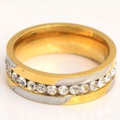 Superb inel verigheta 9K gold filled cu cu zircon cz. Marimea 6, 7 si 8 - Inel placate cu aur