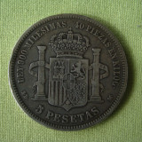 5 pesetas 1871 SPANIA - Argint