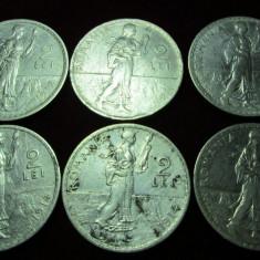 Monede Romania, Argint - Lot a 6 monede Argint de 2 lei anii 1910-1914 !