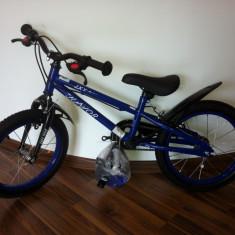 Bicicleta BMX copii 18 inch 5 - 7 ani cu roti ajutatoare - Bicicleta copii, 20 inch, Albastru, Numar viteze: 1