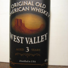 Whisky - R A R E Whiskey west valley, 3 years, cl.70 gr. 40 U.S.A.