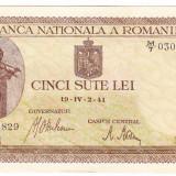 Bancnota 500 lei 2 IV 1941 filigran vertical XF/a.UNC (6), An: 1941