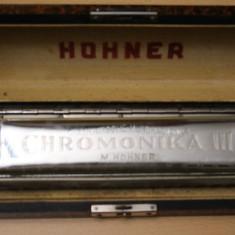 MUZICUTA-CHROMONIKA III-HOHNER-D=18X4CM-GERMANY-FOLOSITA.