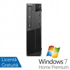 Sisteme desktop fara monitor - Lenovo Thinkcentre M91p SFF, Intel Core i5-2400, 3.4Ghz, 4Gb DDR3, 250Gb HDD, DVD-RW + Windows 7 Home Premium