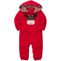 Costum ursulet stil h&m salopeta bebe body hanorac gluga nou-nascut rosu 0-4 lun, Unisex