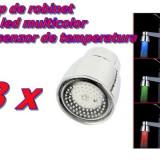 Set 3 bucati Cap de Robinet cu LED in 3 culori + Senzori de temperatura