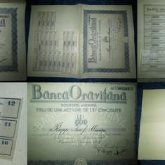 Act vechi Banca Oravitana-Titlu 500lei 1926, 35.5/ 24.5 cm.