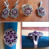 Set argint cu marcasite si rubin - INEL + CERCEI + MEDALION (1) - Set bijuterii argint