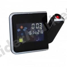 Ceas cu proiectie - Ceas de camera cu proiectie continua, alarma si statie meteo de interior