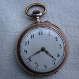 Ceas de buzunar din argint 0, 800 Remontoir Cylindre 10 rubis functional