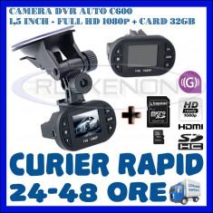 Camera video auto ZDM, 32GB, Wide, Single, Senzor imagine MP CMOS: 12, Full HD - CARD 32GB + CAMERA VIDEO DVR AUTO MARTOR ACCIDENT C600, FULL HD 1080p, SENZOR G