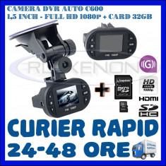 CARD 32GB + CAMERA VIDEO DVR AUTO MARTOR ACCIDENT C600, FULL HD 1080p, SENZOR G - Camera video auto ZDM, Wide, Single, Senzor imagine MP CMOS: 12
