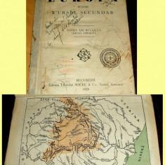 Carte veche - Simion Mehedinti - EUROPA pentru cursul secundar, manual interbelic 1929