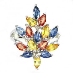 Set bijuterii argint - SET INEL+ PANDANT ARGINT 925 CU NATURAL SAFIR GALBEN ROSU ALBASTRU (THAILANDA)