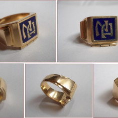 INEL vechi pt barbati, aur 14k, cu monograma, 17.2 gr - Inel aur, Culoare: Galben