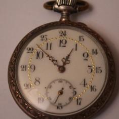 CEAS DE BUZUNAR -SWISS MADE- CYLINDRE REMONTOIRE-10 RUBIS-2 CAPACE DE ARGINT - Ceas de buzunar vechi