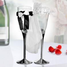 Pahare de Sampanie Mireasa si Mire - Decoratiuni nunta