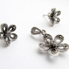 Set argint floare cu marcasite - Set bijuterii argint