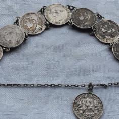 Bratara argint Salba din monede vechi SPANIA 1880 executata manual Splendida