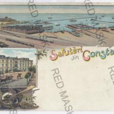 1655 - L i t h o, CONSTANTA - old postcard - unused - Carte Postala Dobrogea pana la 1904, Necirculata, Printata