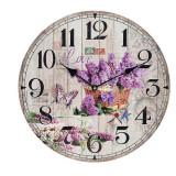 Ceas de lemn de perete Lilac Love - Ceas de perete