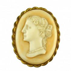 Brosa habille, camee autentica, celuloid, perioada victoriana, profil feminin - Brosa argint