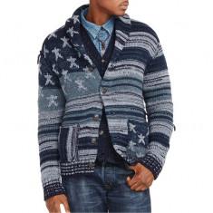 Cardigan RL Americana Cotton Cardigan M si L - Bluza barbati Ralph Lauren, Marime: M, L, Culoare: Albastru
