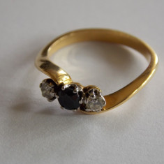 Inel de aur cu safir si diamante - Inel aur, 46 - 56