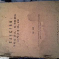 CANCERUL CUNOASTEREA, TRATAMENTUL SI PREVENIREA LUI DE COSTACHEL, GEORGESCU, 1956 - Carte Oncologie