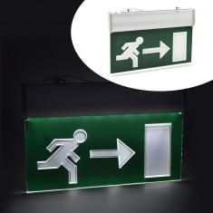 Panou LED cu acumulator, semn EXIT dreapta - Bec / LED
