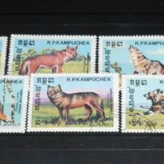 KAMPUCHEA 1984 – ANIMALE SALBATICE, LUPI, serie stampilata B170 - Timbre straine